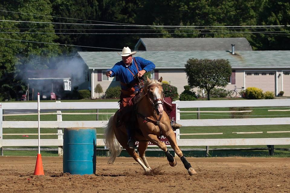 Uncle Jimmy Cowboy Mounted Shoting